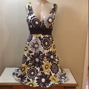 Dresses & Skirts - Brown white yellow floral cotton boho dress